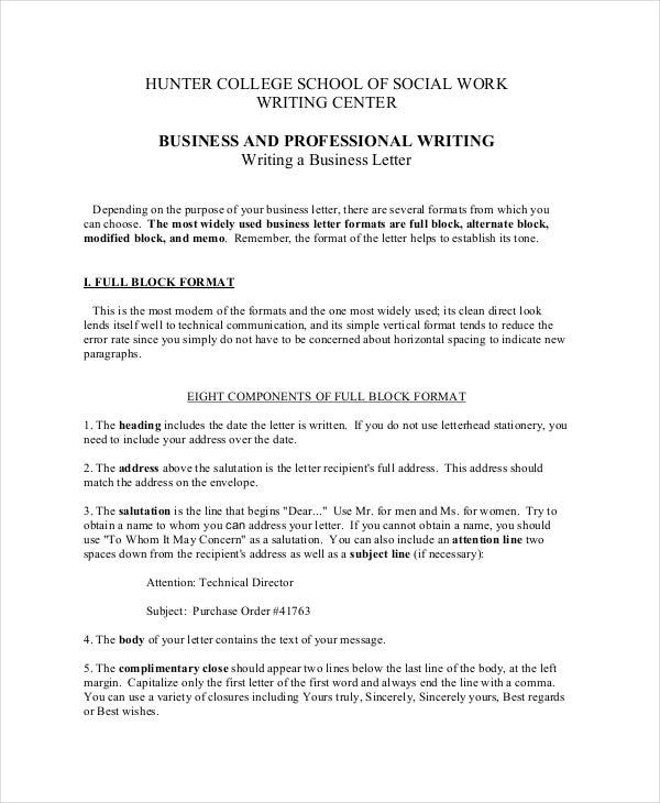 Letter Writing Format Salutation. Business and Professional Letter Format  12 Free Word PDF Documents Download