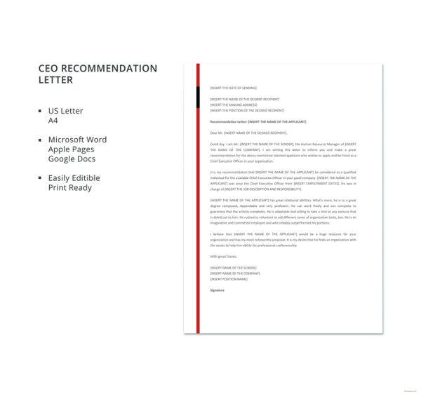 ceo recommendation letter template