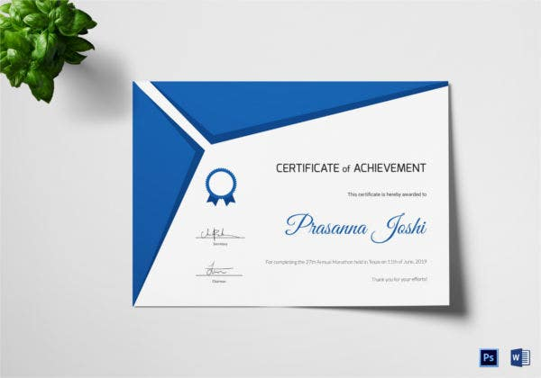 certificate of marathon achievement template