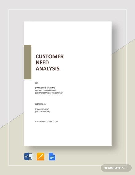 customer needs analysis template