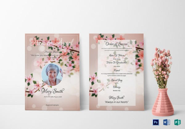 eulogy funeral invitation photoshop template