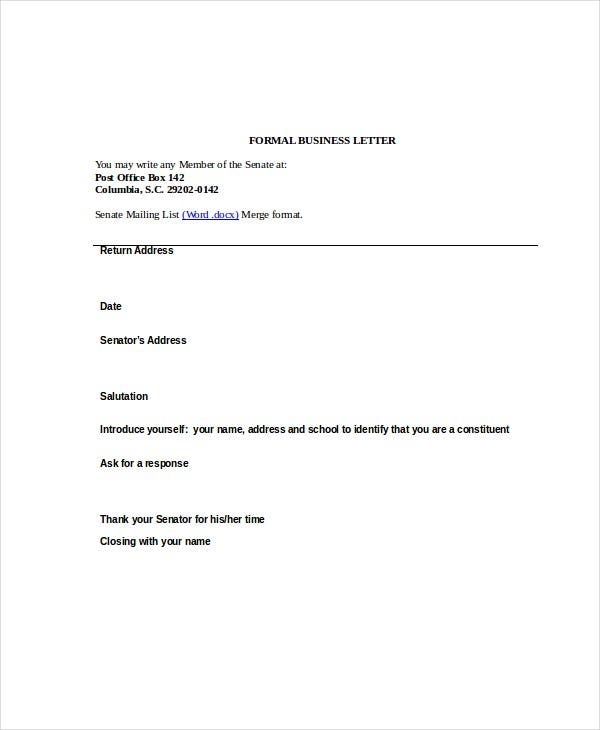 Business Letter Format   Free Word Pdf Documents Download