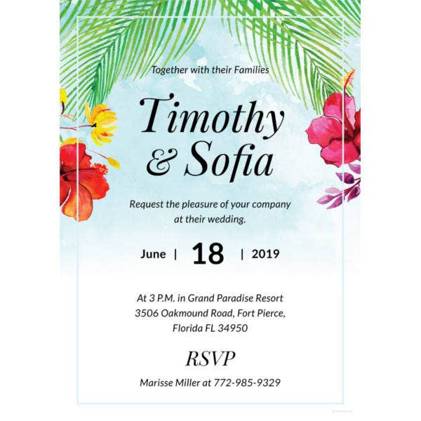 free beach wedding invitation template1