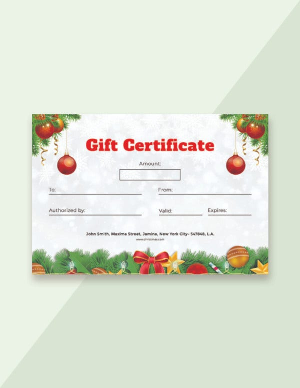 template for gift certificate free