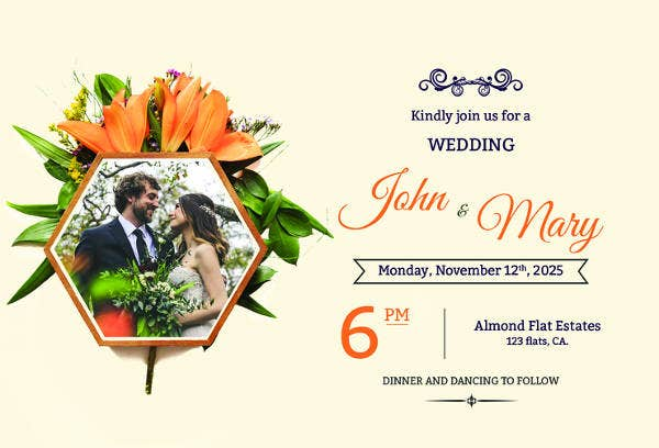 free elegant overlay wedding invitation template