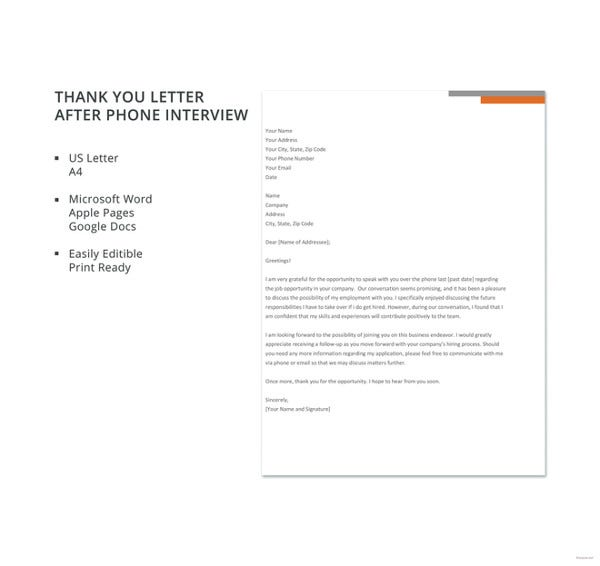 Interview Thank You Letters  Free Sample Example Format