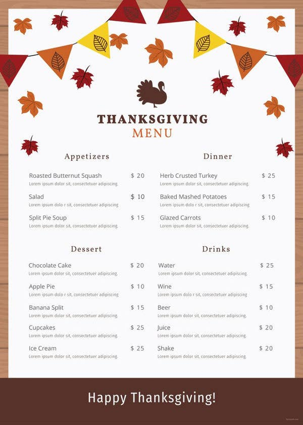 thanksgiving menu template 28 free psd eps format download