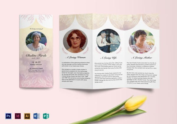 Funeral-Tri-fold-Brochure-Template Obituary Format Example on for cremation, young christian daughter, world war ii veteran father, for mother, for toddlers, for children, for son, paper format,