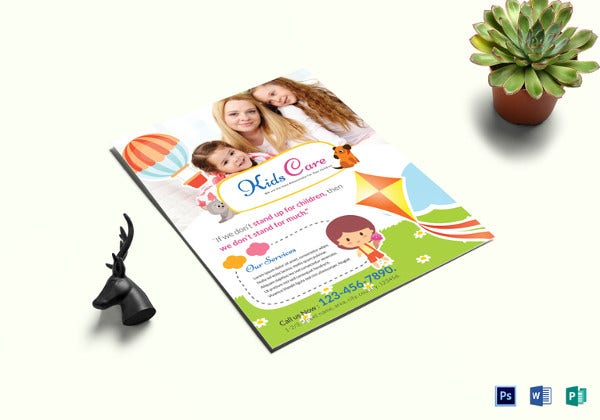 kids care center flyer template