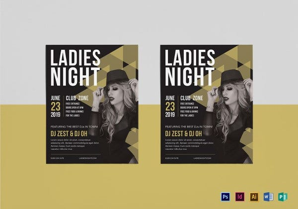 ladies night club flyer template