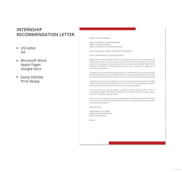 letter of recommendation for internship template