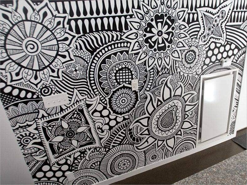 loft wall mural zentagle pattern 788x591