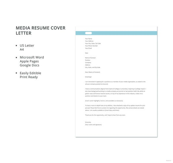 media resume cover letter template