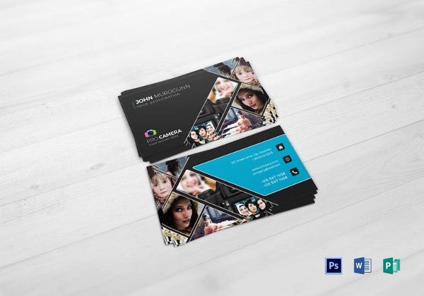 modern photography business card word template