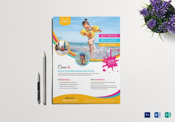 pool travel flyer template in psd