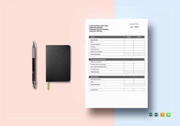 printable balance sheet template