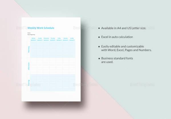 printable weekly work schedule template