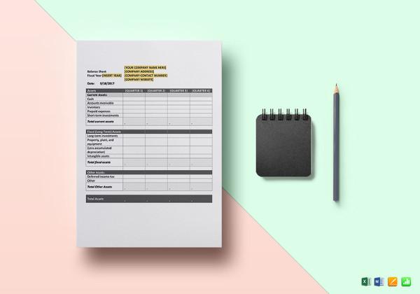 quarterly balance sheet word template