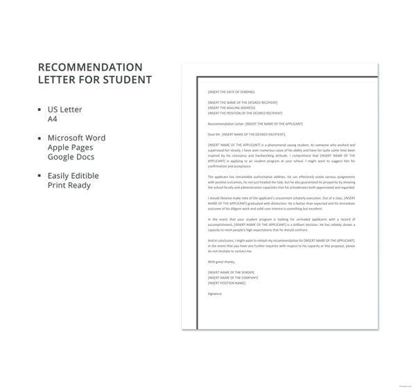 recommendation letter for student template
