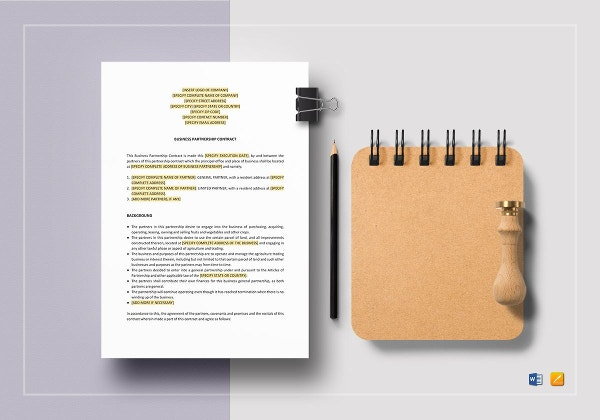 sample business partnership contract template