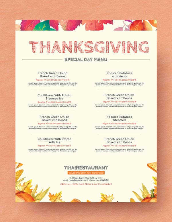 Simple Thanksgiving Menu Template