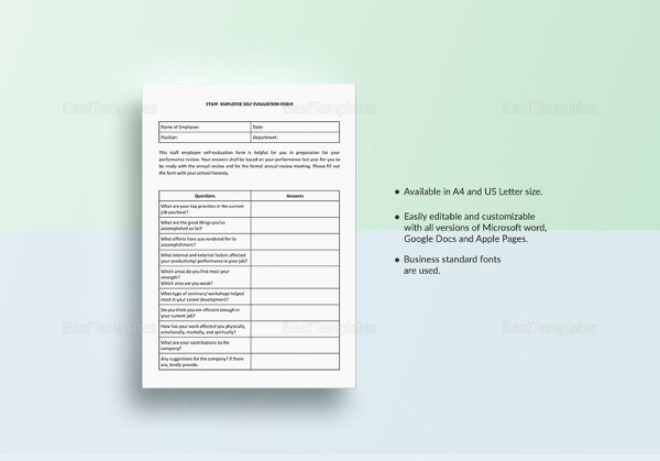 Staff Employee Self Evaluation Template  Employee Self Evaluation Forms Free