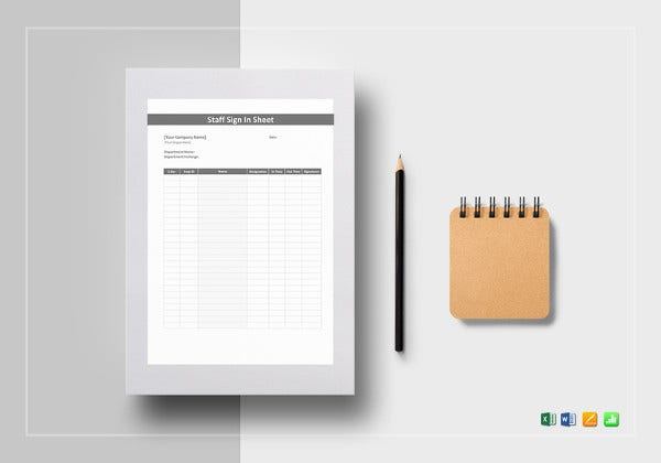 staff sign in sheet excel template