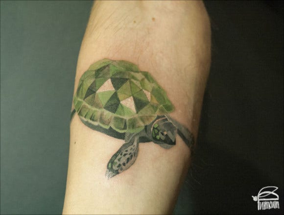 turtle and whale watercolor tattoos