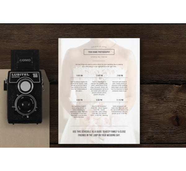 wedding day itinerary schedule template