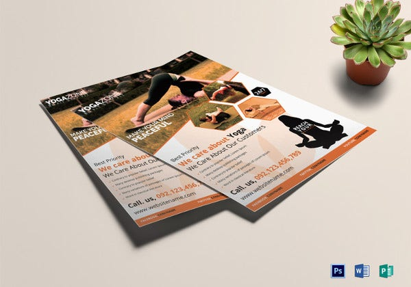 yoga fitness flyer template in photoshop