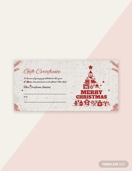 free blank christmas gift certificate