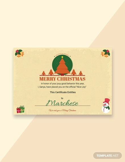 free christmas gift certificate
