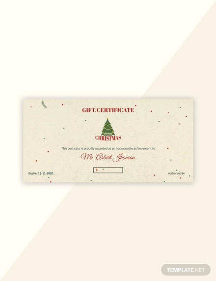 free minimal christmas gift certificate