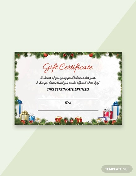 free sample christmas certificate