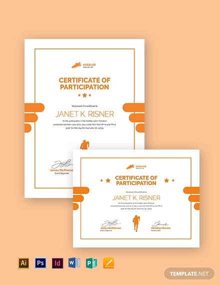 marathon certificate