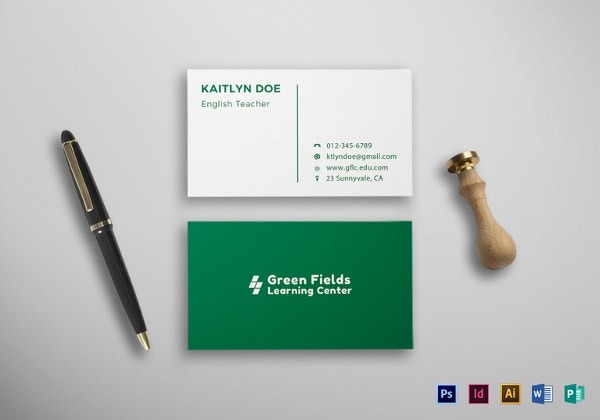 Business cards for teachers 48 free psd format download free teacher business card template in psd word format reheart Images