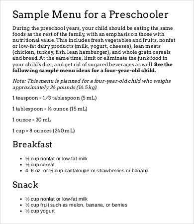 preschool meal plan template