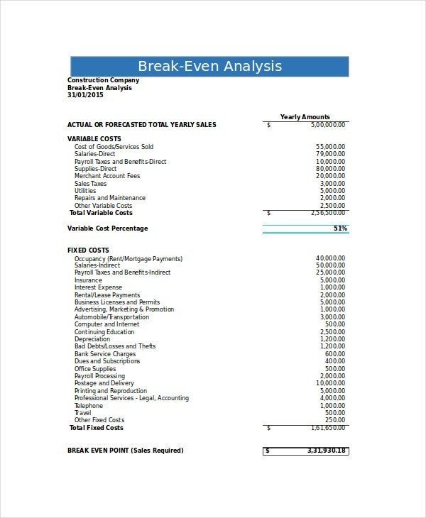 Break Even Analysis   Free Excel Psd Documents Download  Free