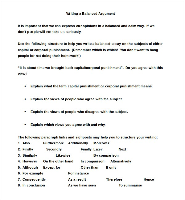 Balanced Argumentative Essay Example