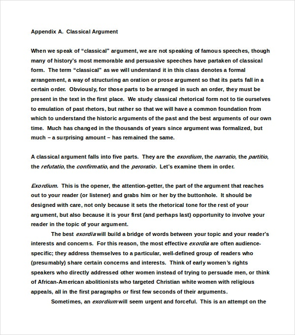 Classical Argumentative Essay Example