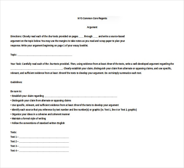 Common Core Argumentative Essay Example