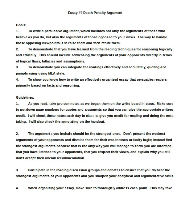 Death Penalty Argumentative Essay Example