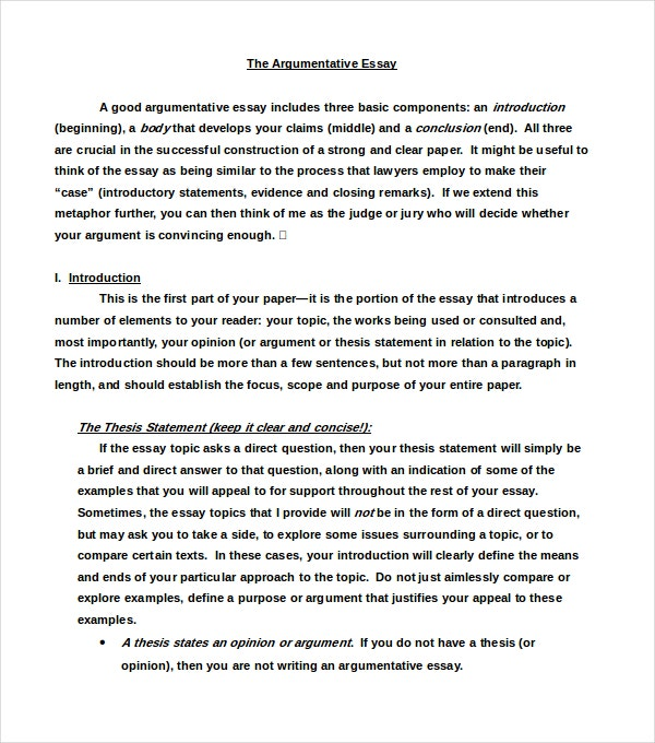 Formal Argumentative Essay Example