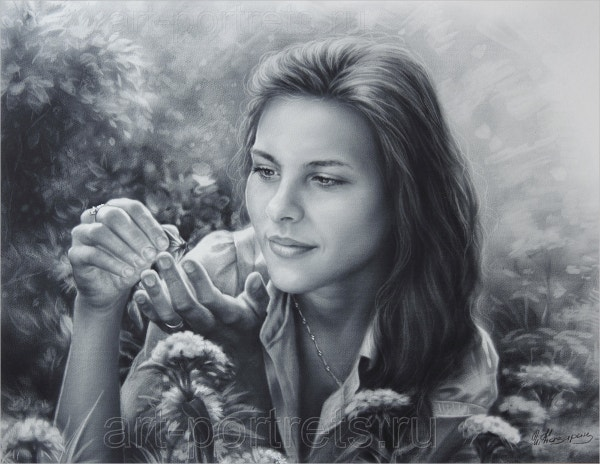 Drawing of a girl with butterfly