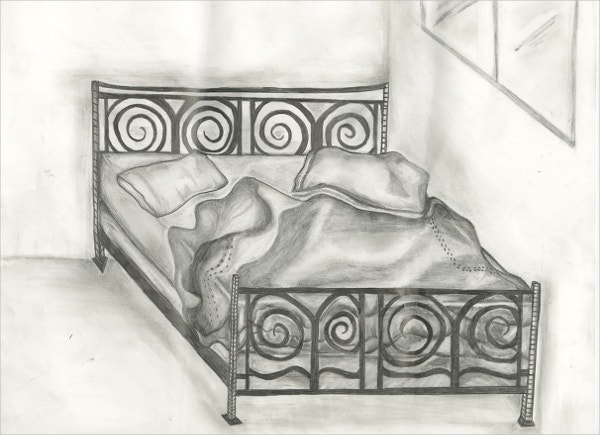 An Observation Drawing of Bed