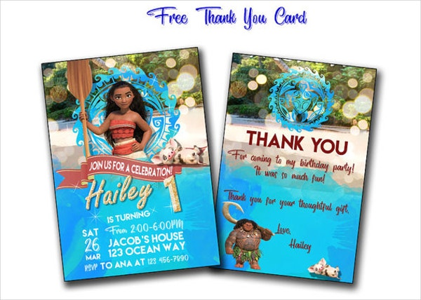 animated moana printable birthday card