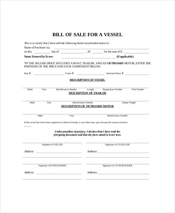 Bill Of Sale Template   Free Word Pdf Documents Download  Free