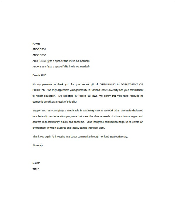 thank you letter for gift thank you letter 8 free word pdf documents 25103