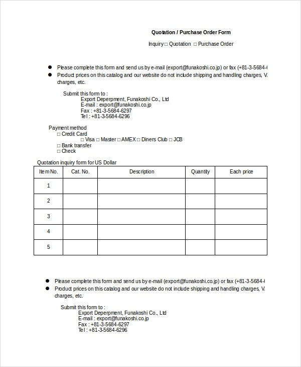 quotation form templates