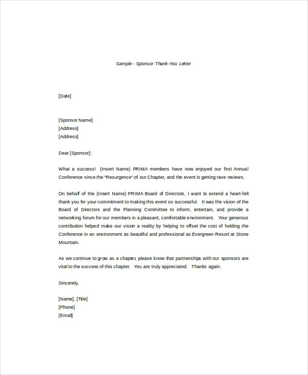 Thank You Letter 8 Free Word Pdf Documents Download
